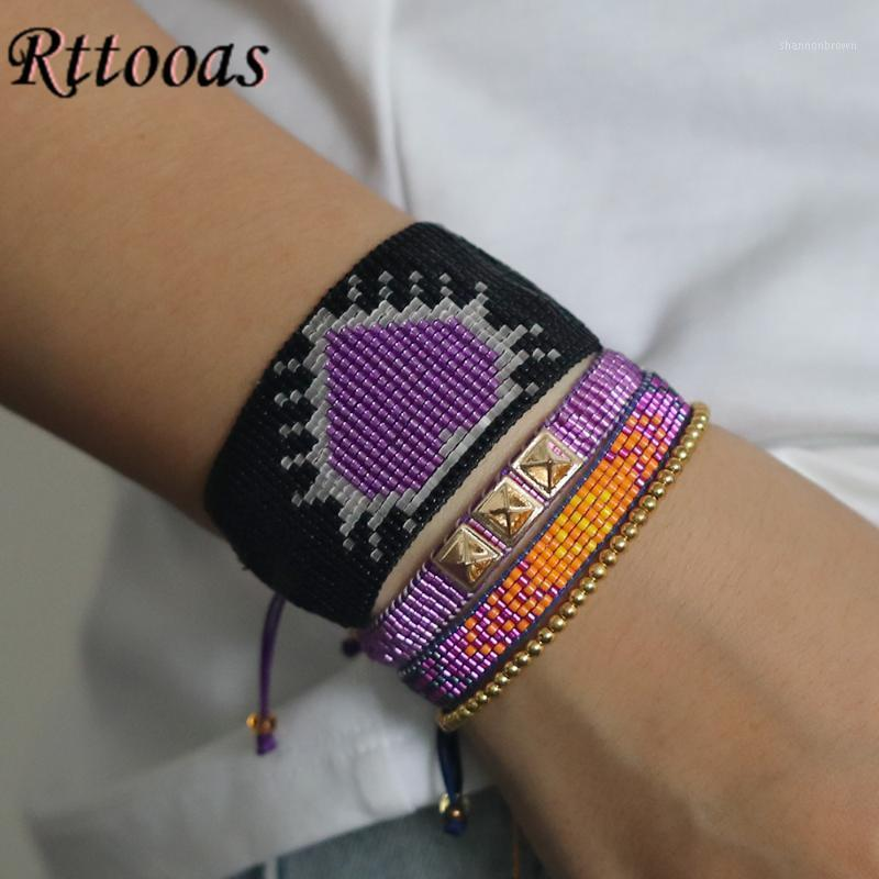 Браслеты очарования RTTOOAS Purple Heart Mikeuki Beared браслет для женщин PULSERAS MUJER 2021 BOHEMIAN Handmade Bileklik1