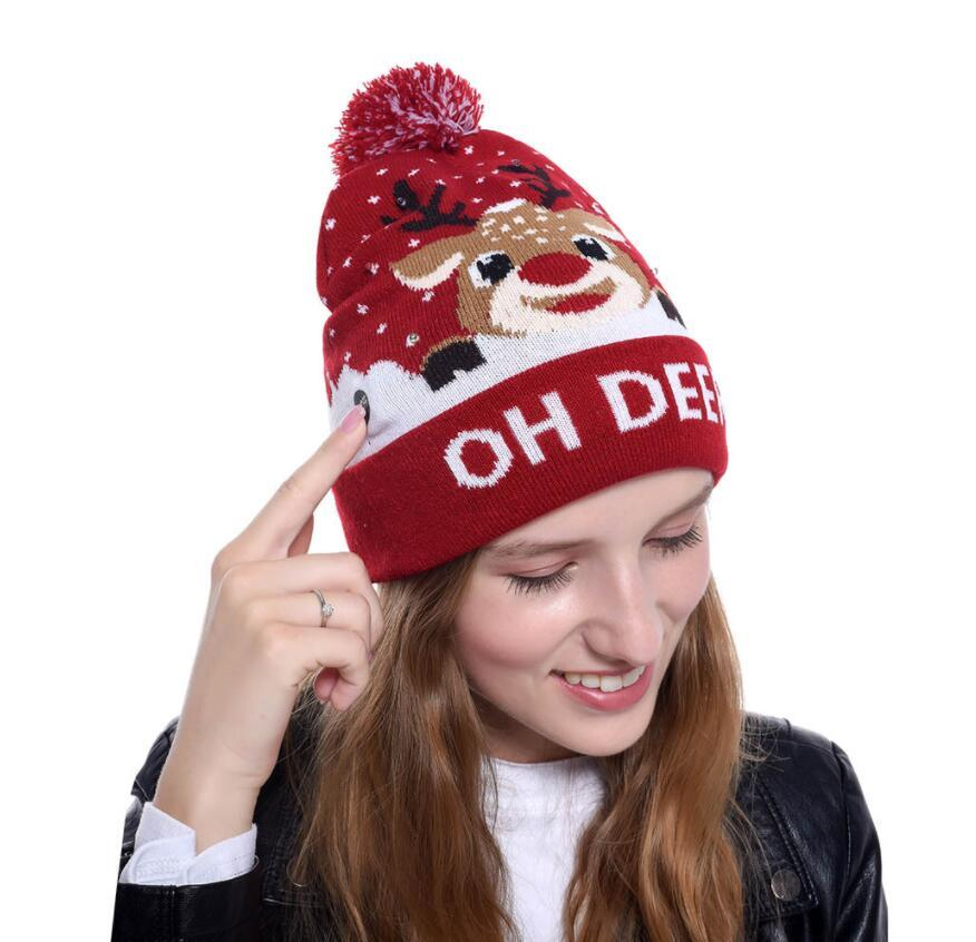 Örgü LED Noel Şapka Bere Light Up Illuminate Isınma Şapka Noel ağacı Kardan Adam Çocuk Yetişkin Yeni Yıl Noel Dekor 15 Stil seçim