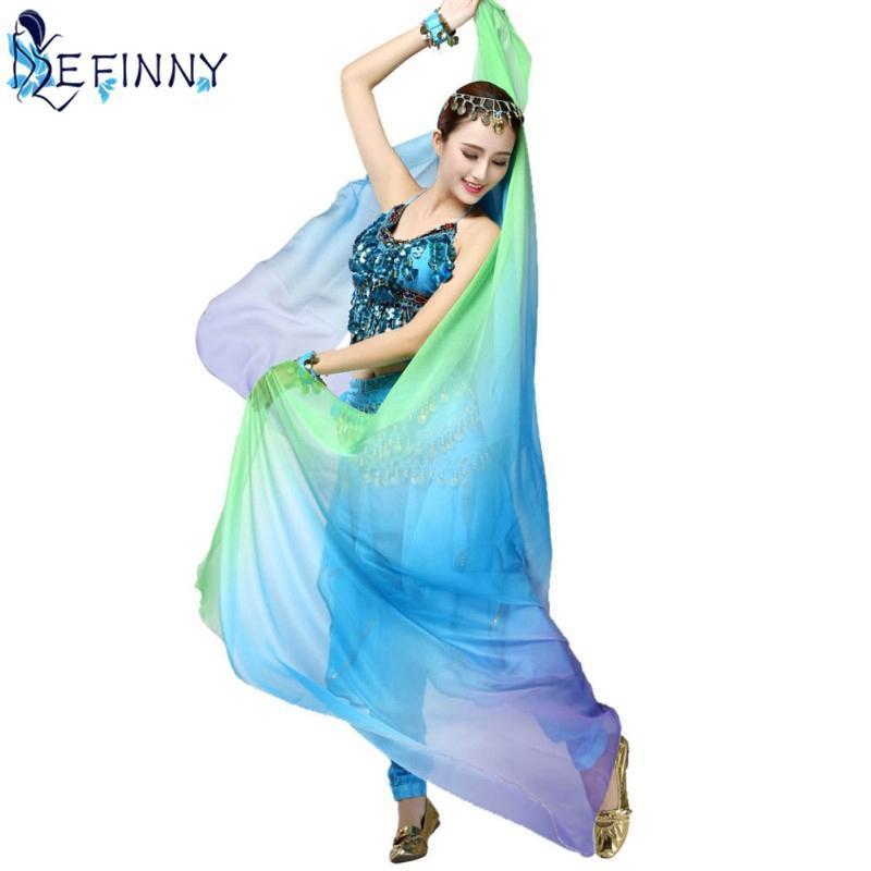 Nouveauté gradient Voile Châle wrap châle visage écharpe Mode Femmes danse du ventre Bollywood Costume de soie, comme
