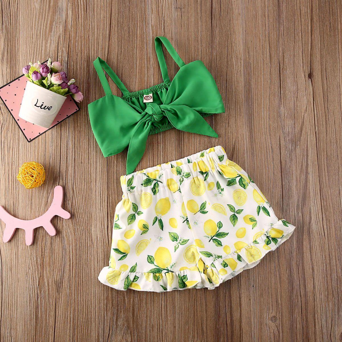 1-5Y Infant Baby Girls Clothes Sets Bowknot Vest Tops Leomen Print Shorts Pants Trousers Outfits Clothes 2PCS