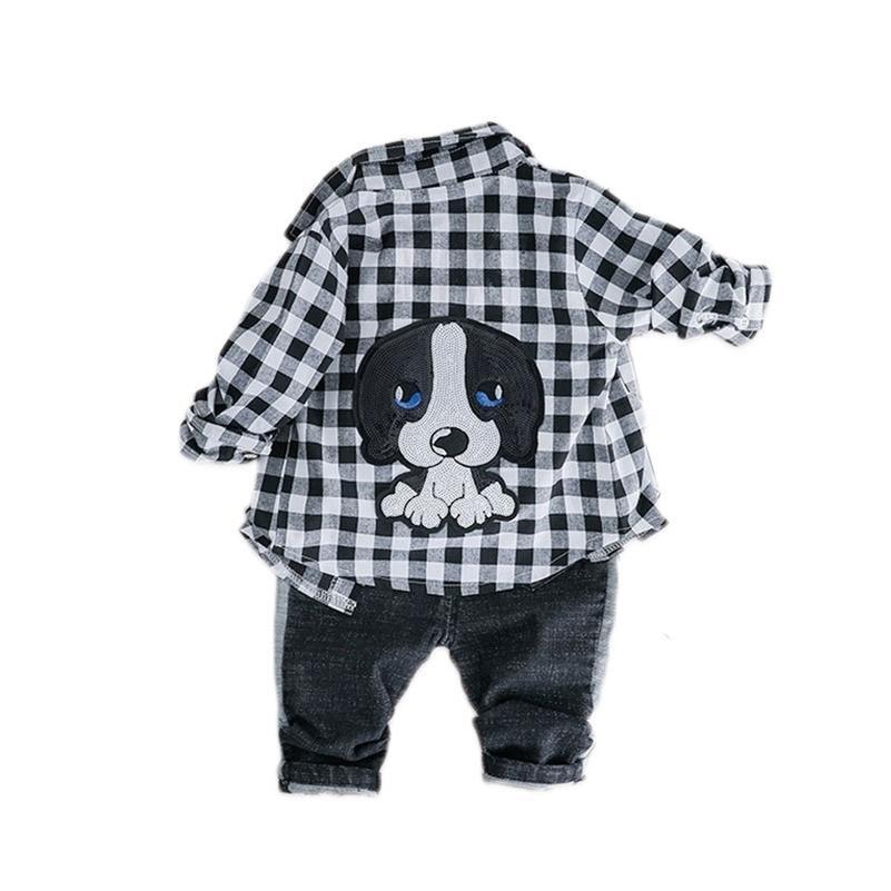 Весна осень детские девочки мальчики одежда наборы одежды отворота клетчатая рубашка джинсы дети мультфильм детский костюм детский досуг одежда костюмы 201126