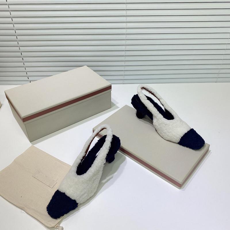 2020 Sonbahar ve Kış Moda Bayan Yeni Kuzular Yün Ayakkabı Siyah ve Beyaz Dikiş Düz Topuklar Saç Kökü Yüksek Topuklar MN20FW
