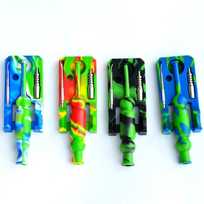 Neue Silikon-Nektar-Sammler-Kits Ti-Nagelöl-Kollektor-Mini-Design mit DAB-Rigs-Glas-Wasserleitungen DAB-Rigg