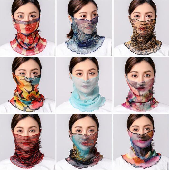 Tul de seda bufandas de las mujeres de impresión de protección solar diadema floral Cara máscara del oro turbante playa de la manera de conducción de la bufanda de la gasa de Mar Neckchief LSK1742