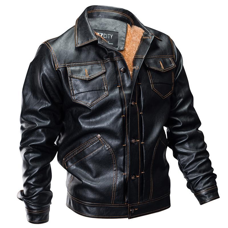 2021 novo inverno jaqueta de couro voo quente queda bruta multi-bag falso casaco de lã masculino outwear Guba
