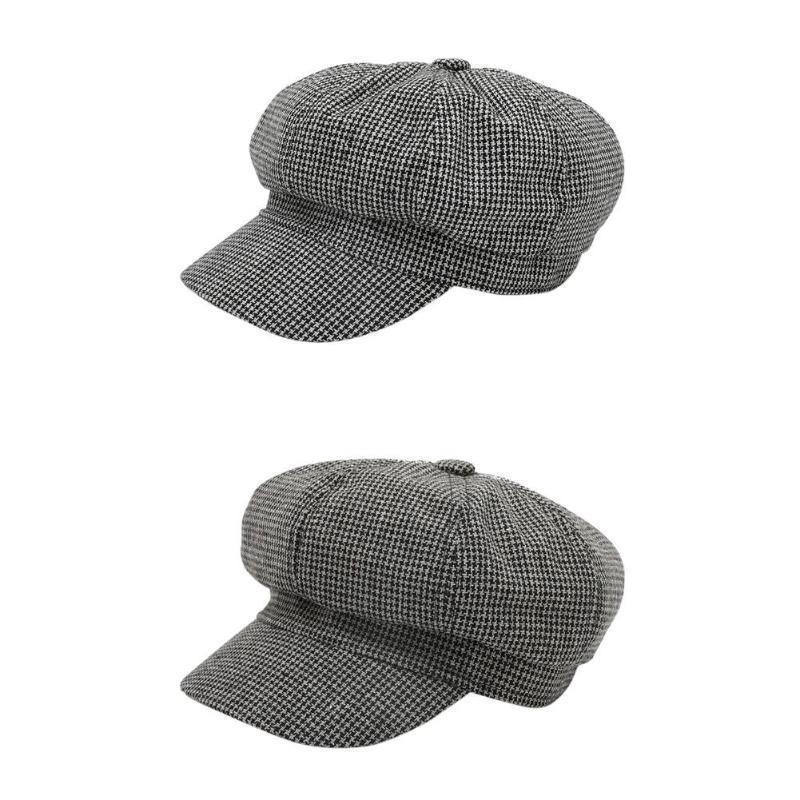 Tempo libero Autunno Inverno del cappello del Beanie donne comode di personalità morbida Uomini Plaid Cotone British Fashion Beret Cap Pittore Cap