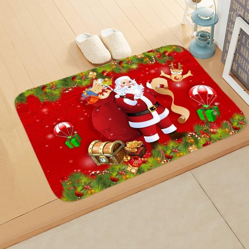 Esteira no corredor cozinha de borracha de borracha feliz Natal Papai Noel casa decoração tapete de água absorvente antiderrapante