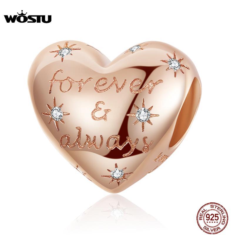 Wostu Forever Siempre cuentas 100% 925 STERLING SILVING ROSE ORO DE ORO DE ORO COMPORTE Pulsera original Colgante DIY Joyería
