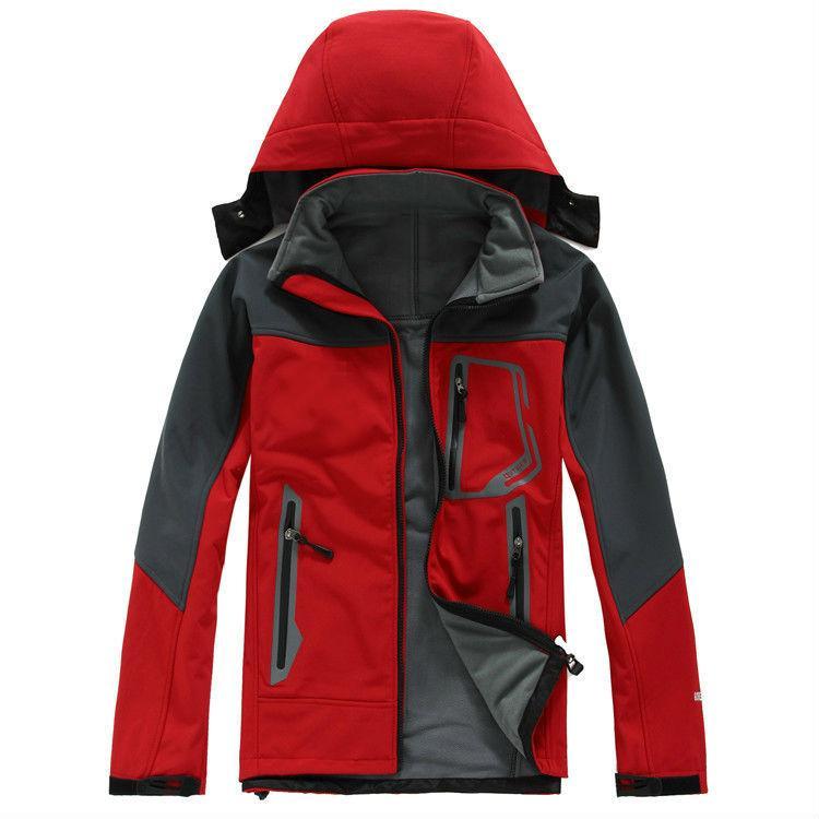 Vendita calda da uomo classico Oudoor con cappuccio Polartec Softshell North Jacket maschile sport antivento impermeabile traspirante viso invernale cappotti