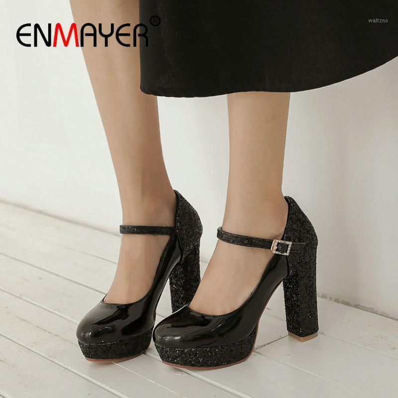ENMAYER Round Toe Patent LeatherBasic PU High Heel Booties Buckle Strap Wedding Shoes Fashion Spring/Autumn Women Shoes1