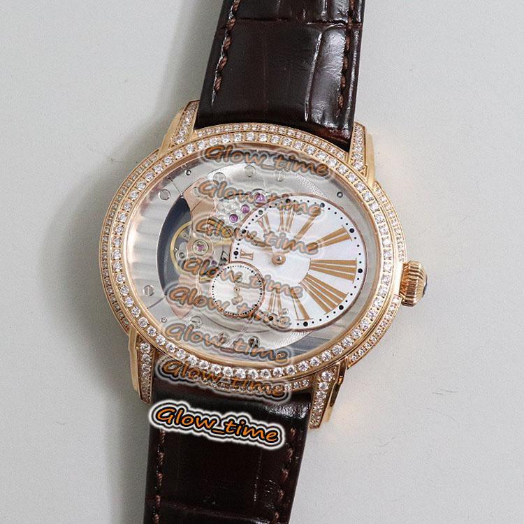Nueva versión V9F Rose Gold Diamond Case Skeleton Dial 15350or.oo.d093cr.01 Reloj para hombre Cal.4101 Correa de cuero automático Relojes deportivos