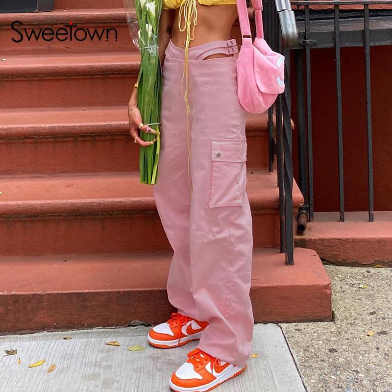 Sweetown Pembe Baghee Geniş Bacak Pantolon Kadın Big Cep Patchwork Kargo Pantolon Gündelik Bel Cut Out Düz Pantolon Streetwear Y2K