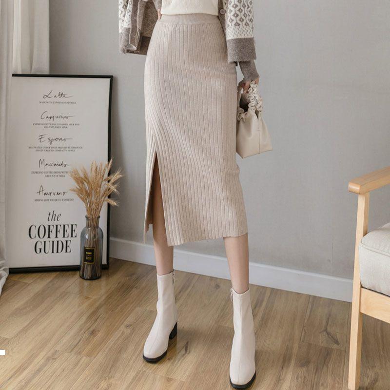 Yeni kadın 2021 Örme Etekler Uzun Sonbahar ve Yüksek Bel Kış Bölme Maxi Etek Y329 A9KB