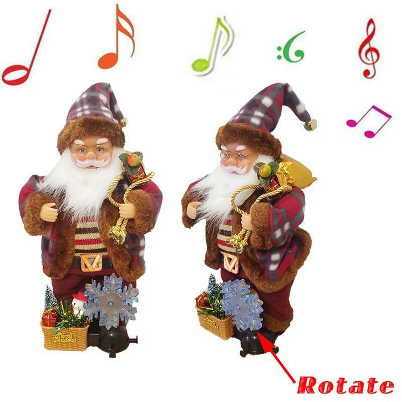 Симпатичные электрические куклы Санта-Клауса с вращающимся в форме снежинки светло-рождественские украшения BJSTORE