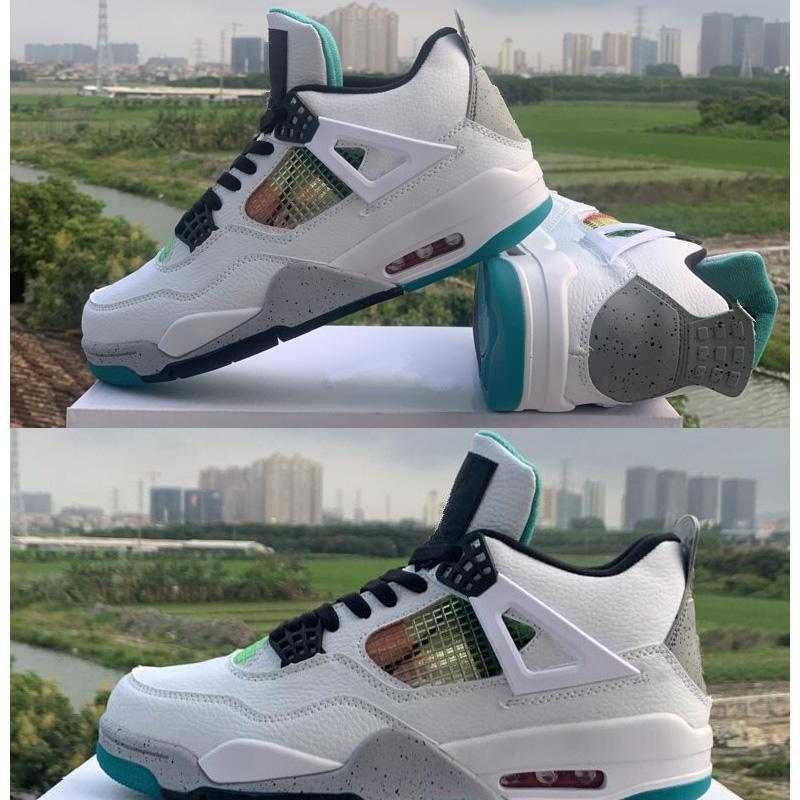 Yeni OG Rasta 4 Erkekler Karnavalı Lucid Yeşil Beyaz Deri Spor Sneakers Sepetleri Eğitmenler Zapatos Chaussures Boyutu 13 için Basket Ayakkabı 4s