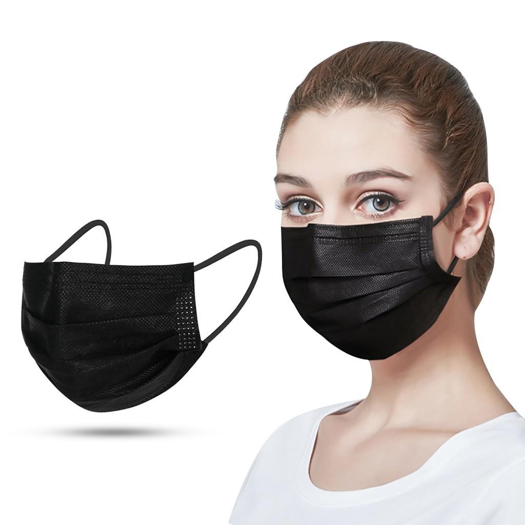 Grátis USPS 8 ~ 10Days Black 3-Camada Máscara Descartável Máscaras Boca Máscaras Derretido Blow Blown Descartável Confortável, Respirável e Poeira Face Mask