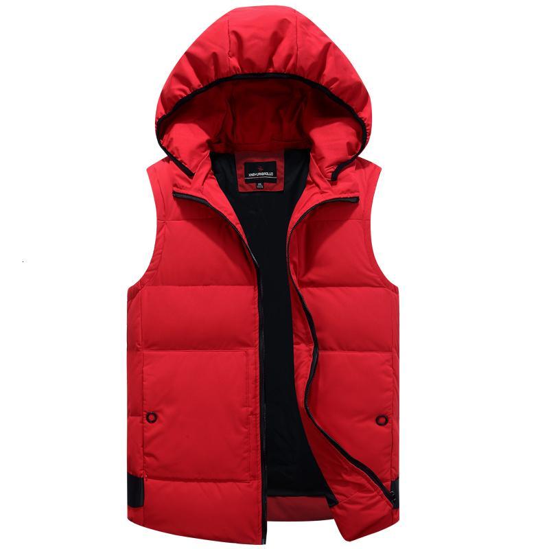Herbst-Winter-Duck Down Baggy Vest für Männer Warm neue beiläufige mit Kapuze ärmellos Reißverschluss Fest Parka-Jacke Male Klassik 2020 Marke