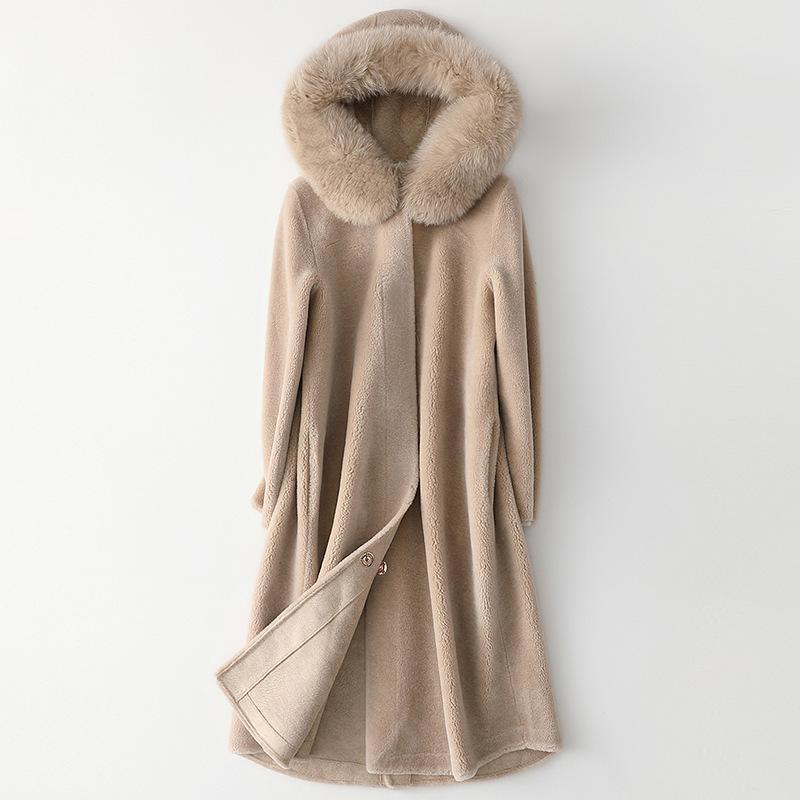 Mouton de femme cisaillement longue veste 2020 nouveau fashion renard manteaux à capuche automne hiver véritable manteau de fourrure de fourrure