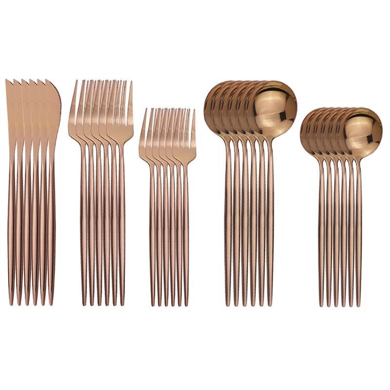 30 unids rosa cubiertos cuchillo tenedor postre cuchara vajilla de vajilla de acero inoxidable cena platería fiesta cocina vajilla conjunto 201128
