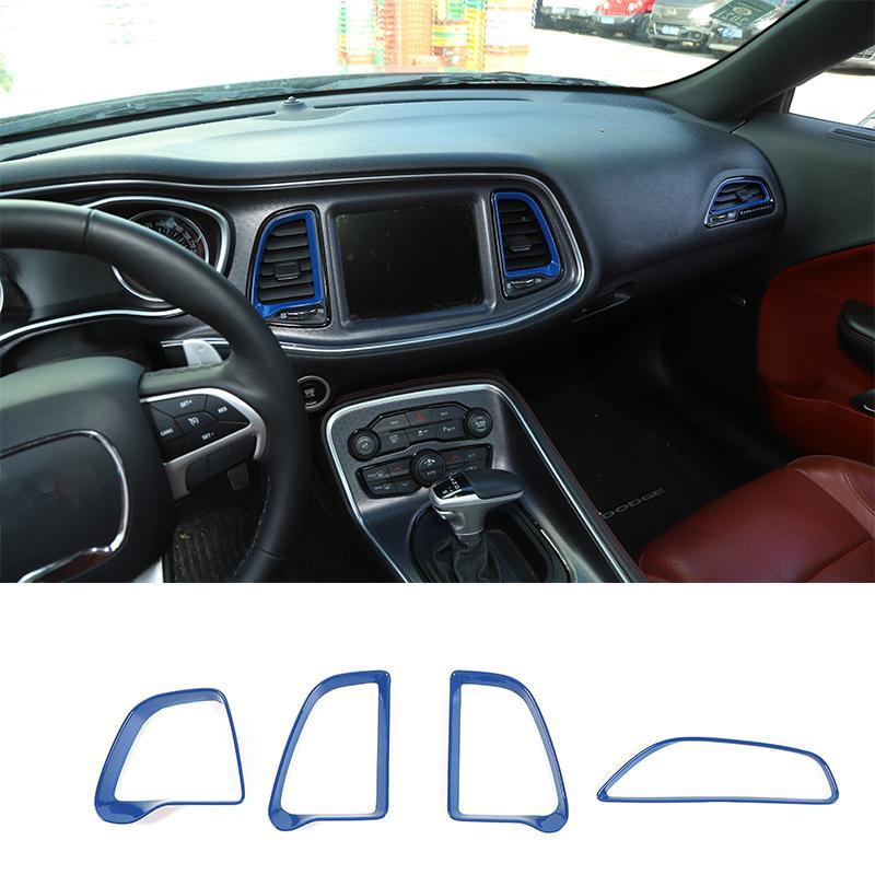 Синий ABS Center Console Кондиционер Vent кольцо для Dodge Challenger 2015+ Factory Outlet автомобиля Аксессуары для интерьера