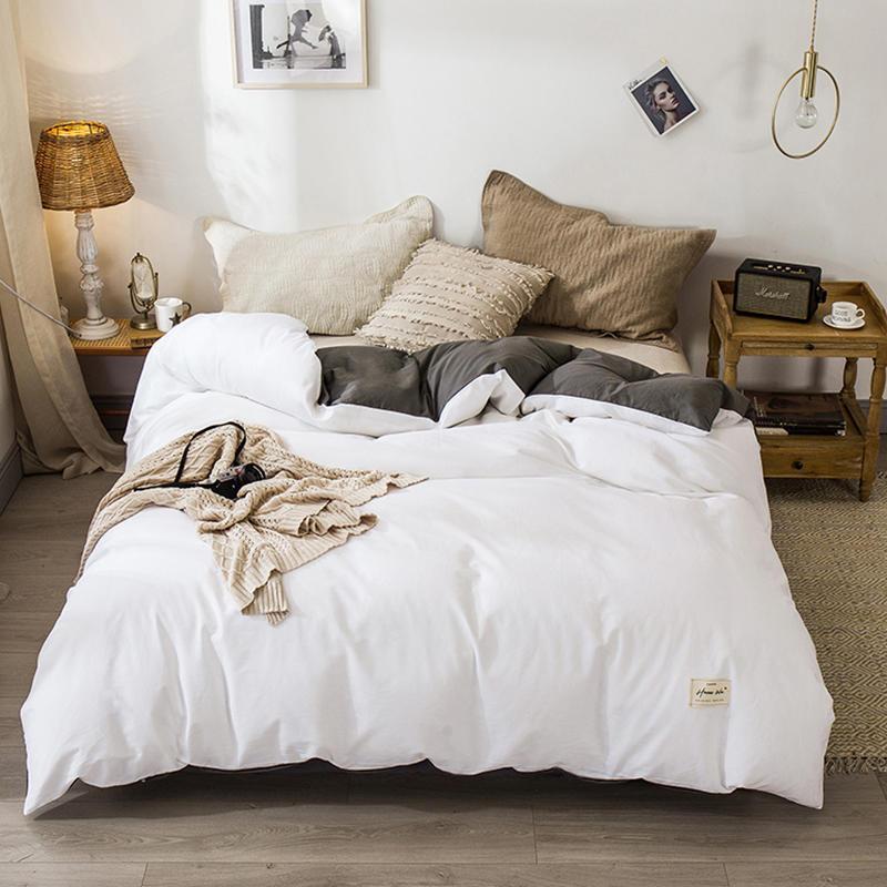 Bonenjoy 1 قطعة 100٪ القطن حاف الغطاء بلون القطن غطاء لحاف الأبيض والرمادي المعزي غطاء واحد الملكة الملك الحجم LJ201015