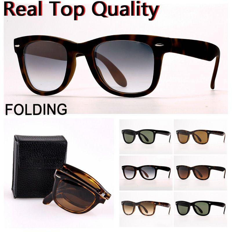 mens óculos de sol Folding óculos de sol óculos de designer de óculos de sol com lentes de vidro UV400, dobrando caso de couro, e varejo pacotes!