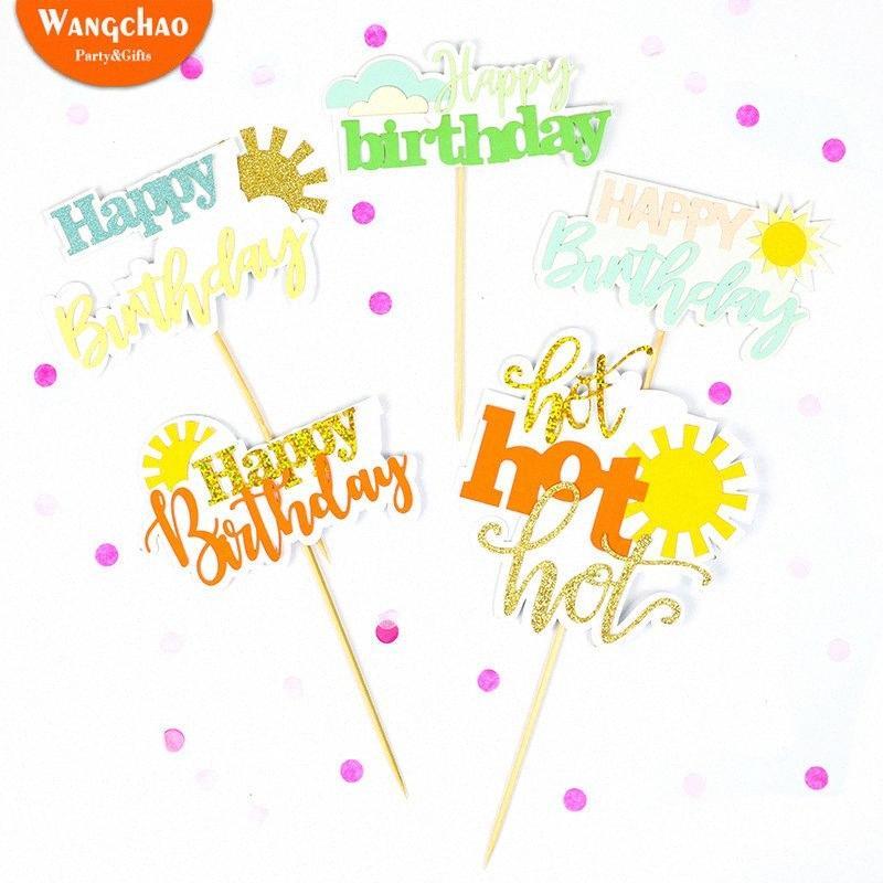 Buon compleanno Luce del sole Cupcake Toppers Summer Party Supplies Estate Ice Cream solare nube Tema glitter Charme Cake Topper hgXp #