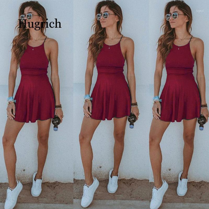 Moda quente mulheres vestido verão casual sem mangas sólida feminina vestido de praia sexy senhoras curtas mini mulheres vestuário vestuário sundress1