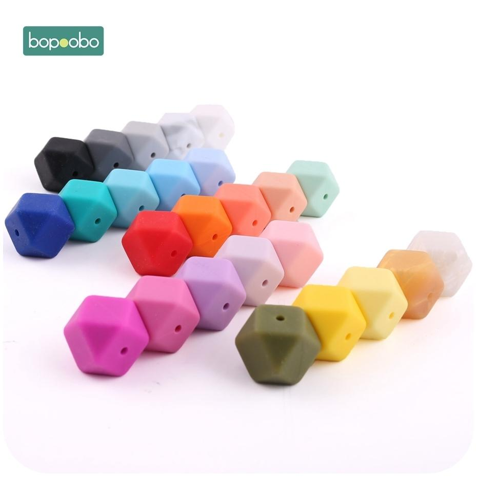 Bopoobo 50pc Silicone Hexagon Beads Baby Teething Beads Silicone Rodent Baby Nursing Accessories Silicone Teething Beads 201123
