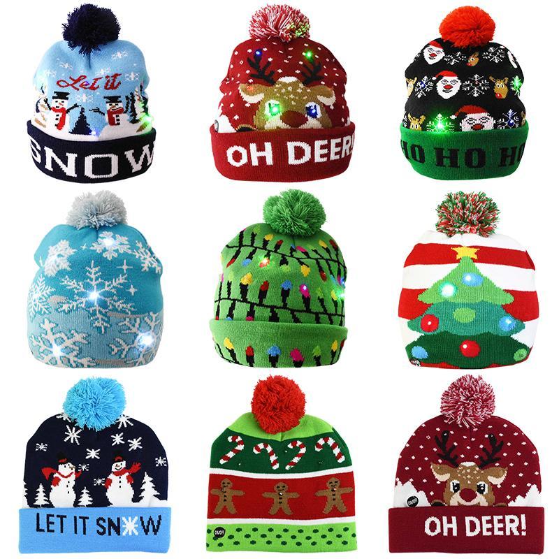 Regalos de Navidad de la lámpara LED Sombrero de Santa rojo Accesorios Decoración de Navidad muñeco de nieve Elk Cap Fiesta de Navidad Año Nuevo adulto cabrito del niño de la Luz