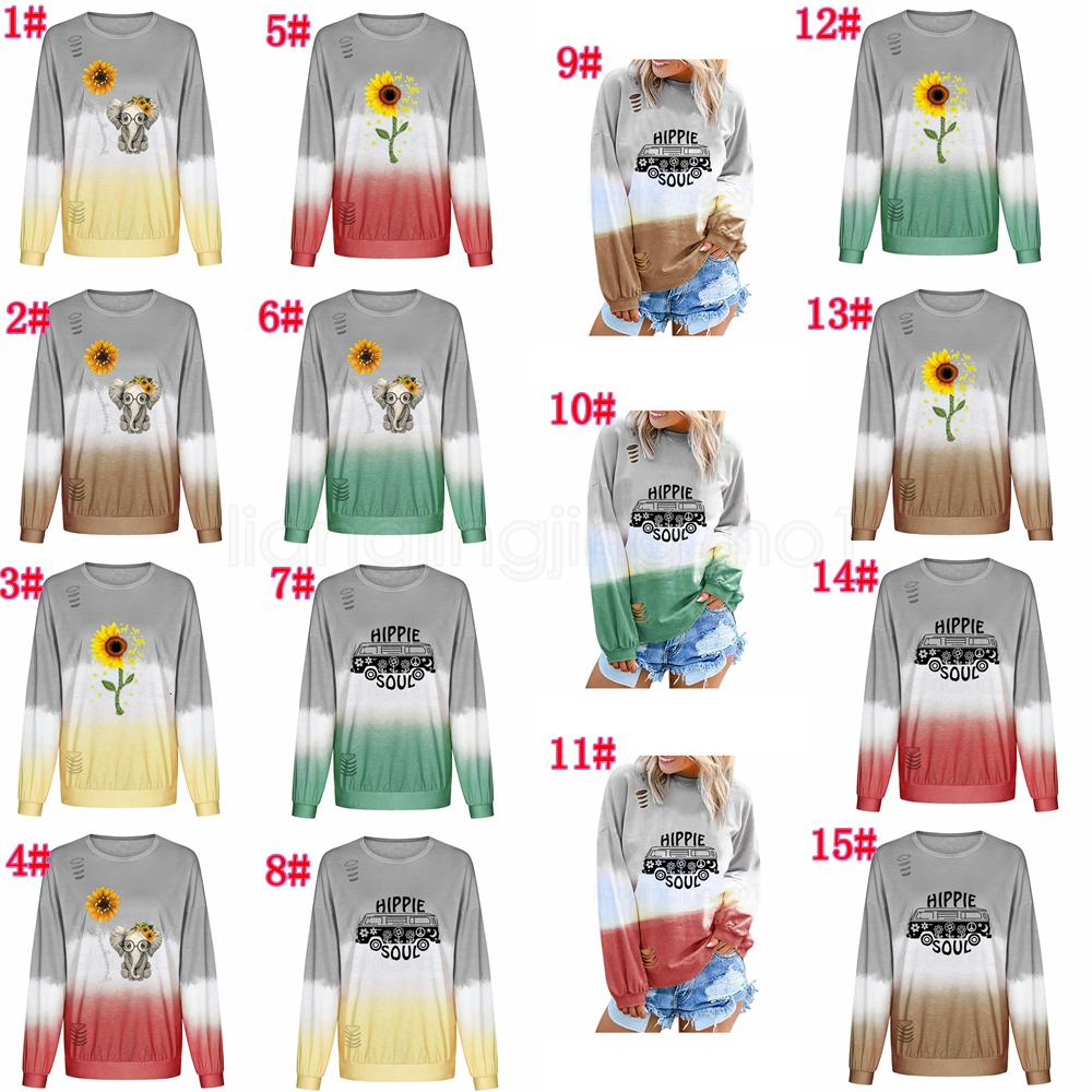 hole Long 15styles Sweatshirts Girl Sleeve round Gradient collar sunflower printed Pullover Tops Tee t-shirt o