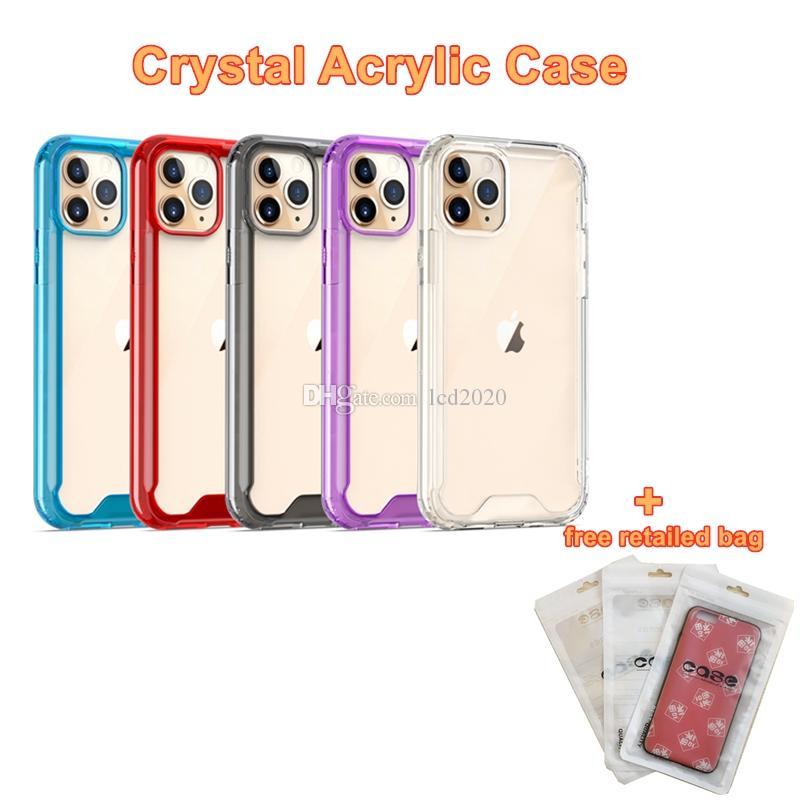 Nouveau iPhone 12 12PRO cristal acrylique dur arrière pour iPhone 12PRO 11 7 8 X antichocs pour Samsung Moto GRATUIT Sac détail