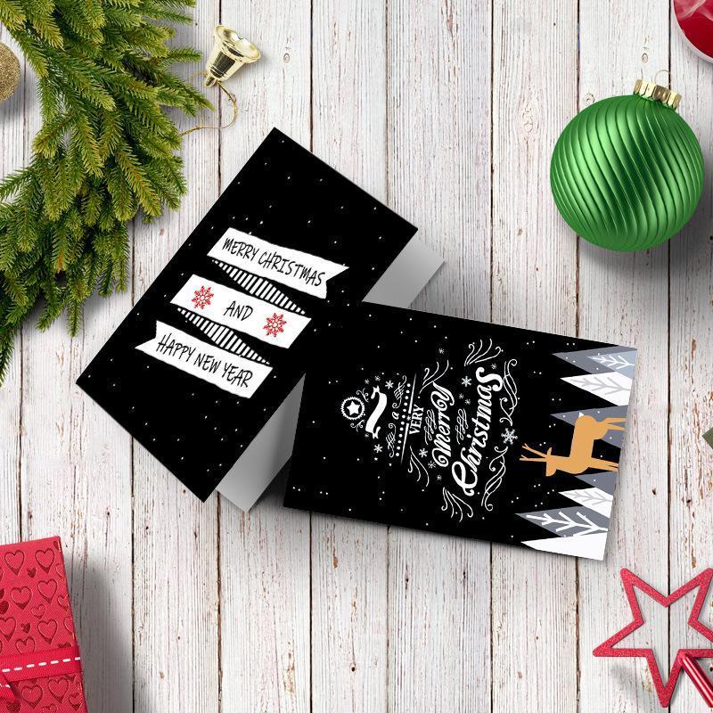 6шт Рождество пригласительный билет Черный С Рождеством Поздравительные открытки Рождественский подарок Открытка Xmas Party Supplies Настраиваемый