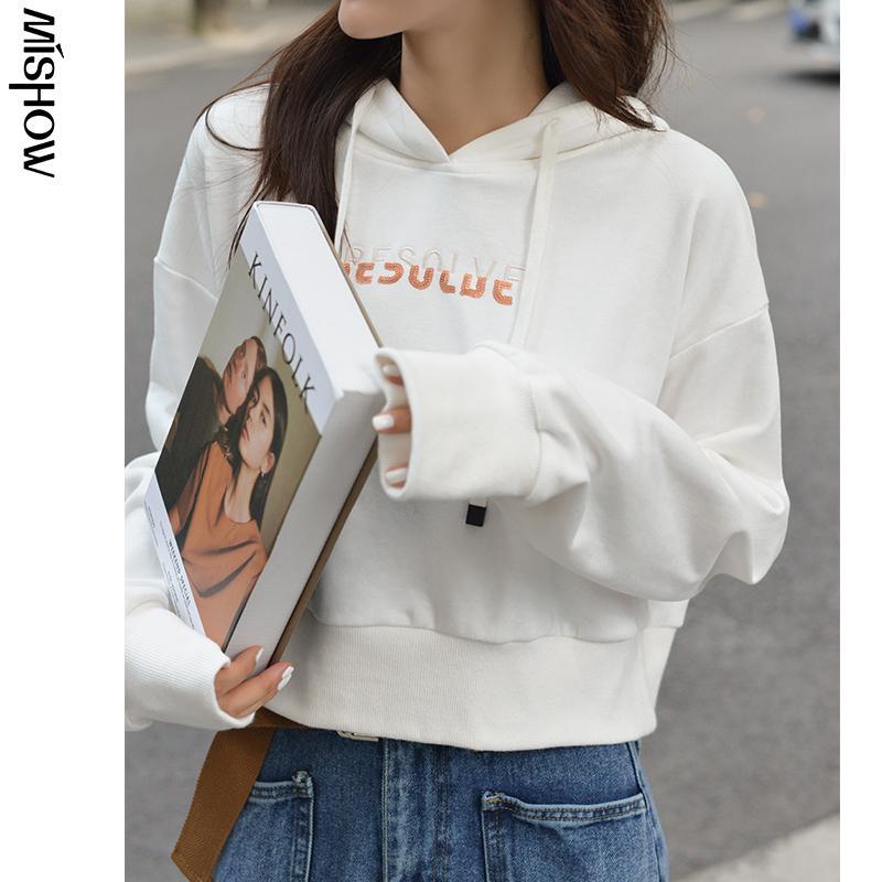 MiShow Outono Hoodies Para Mulheres Moda manga comprida com capuz Streetwear pulôver Feminino Casual Tops MX20C6799 200930