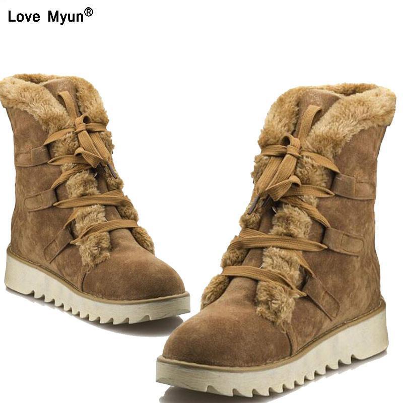 L'autunno e l'inverno nuovo pizzo stivali da neve donna warm up antiscivolo stivali di medie tubo di grandi dimensioni pattini piani casuali donna 886