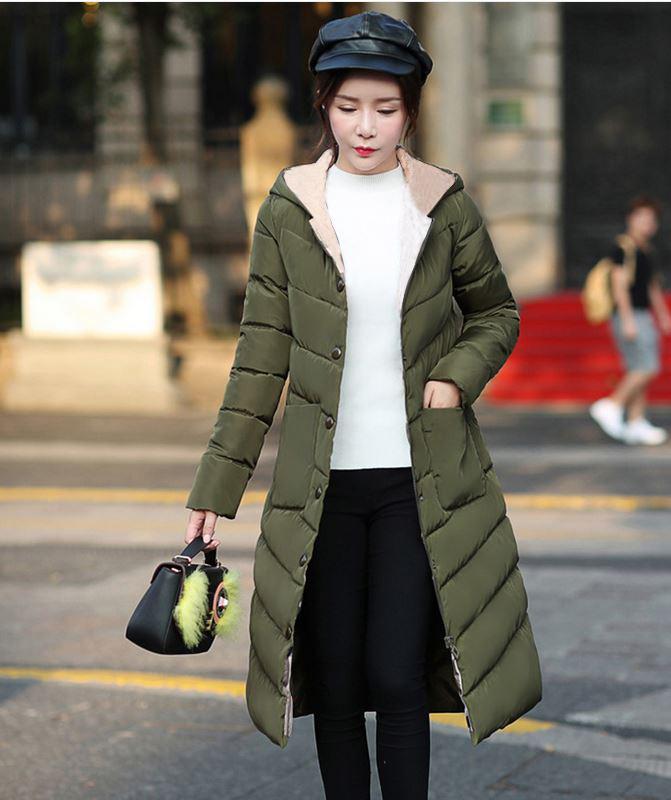 2017 Nuevas parkas largas con mujer con capucha Mujeres Abrigo de invierno Abrigo de algodón espeso de algodón Chaqueta para mujer Outwear Parkas Plus Tamaño XXXL