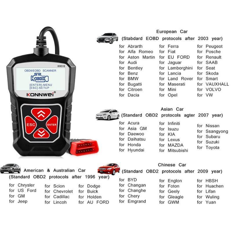 Универсальный KONNWEI KW310 OBD2 сканер для автоматического OBD 2 автомобиля Сканер диагностического инструмента для автомобилей Автомобильных инструментов России