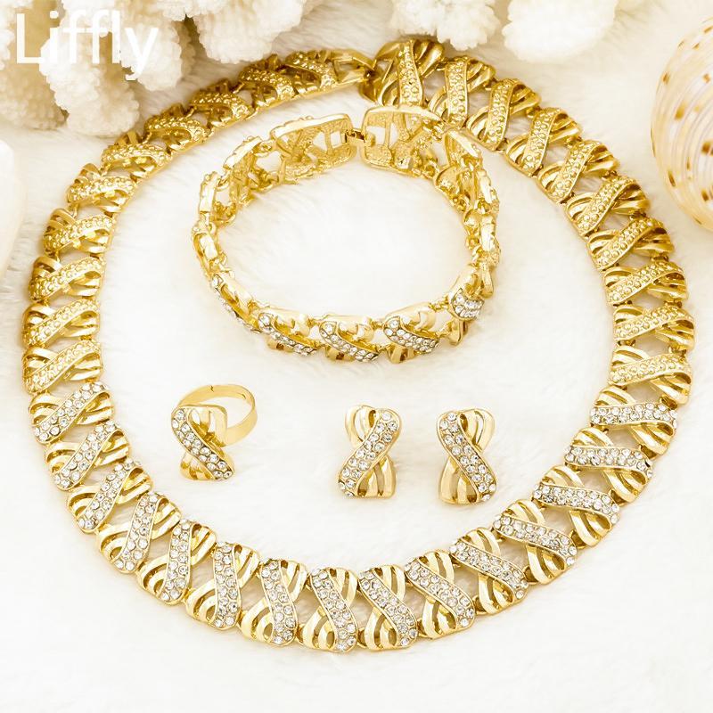 Наборы ювелирных изделий из Нигерия для женщин Африки Бисер Ювелирные Изделия Dubai Gold Wedding Bridal Мода Ювелирные Изделия Женские Аксессуары 201125