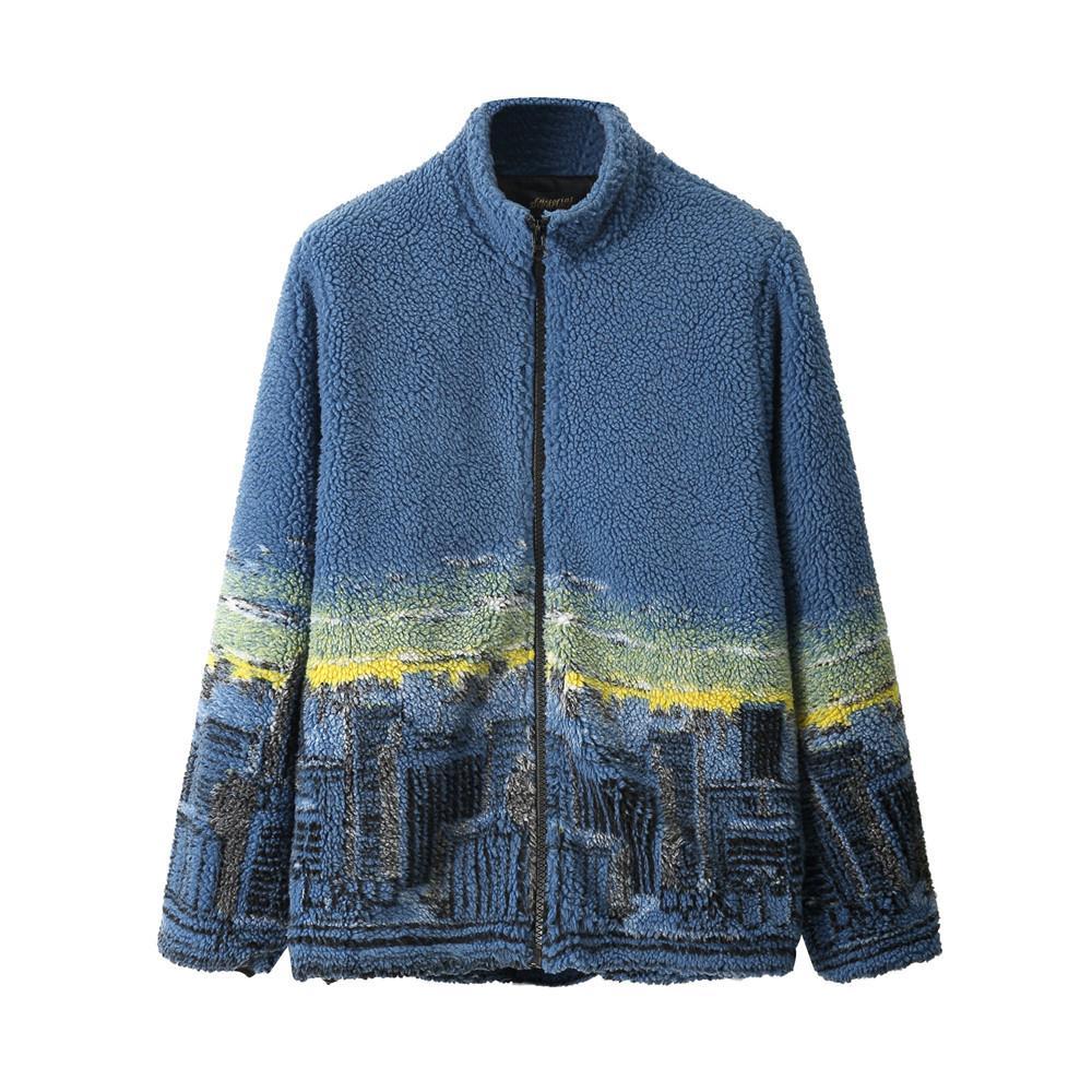 유일한 남성 겨울 두꺼운 재킷 패션 도시 인쇄 극지 양털 따뜻한 코트 엉덩이 엉덩이 스트리트 하라주쿠 캐주얼 착실히 보내다 Jk23 탑