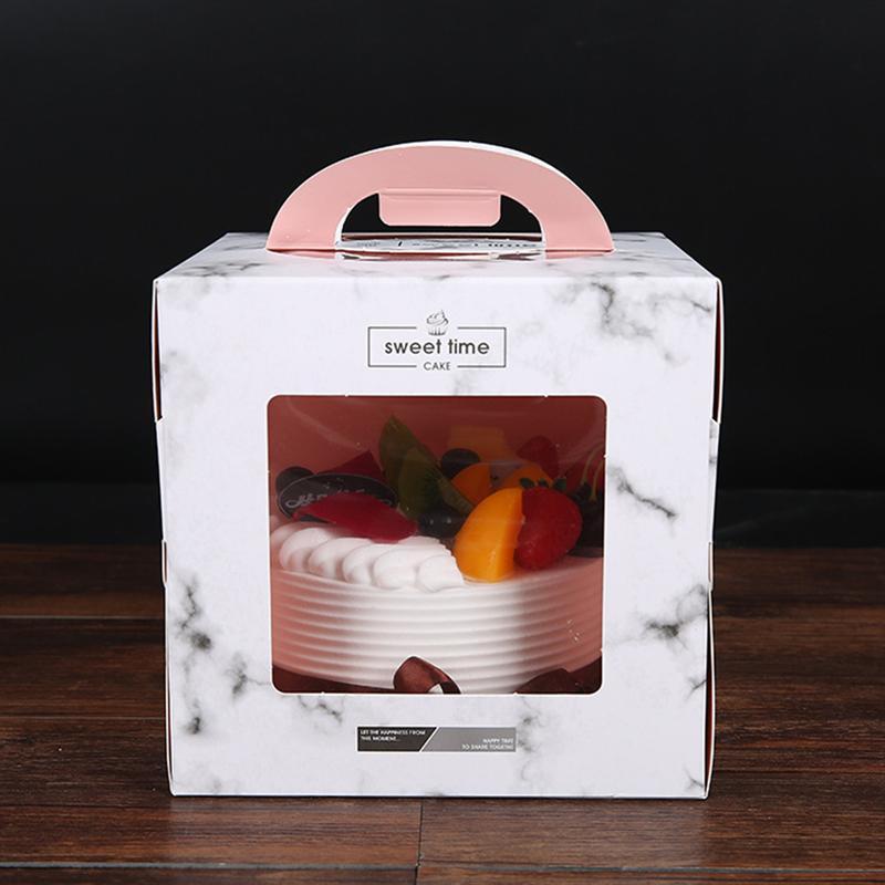 الرخام 5PC كعكة مربع مع نافذة 4INCH 6INCH المحمولة كعكة عيد ميلاد مربع مع مقبض مزدوجة شفاف نافذة مفتوحة التعبئة والتغليف