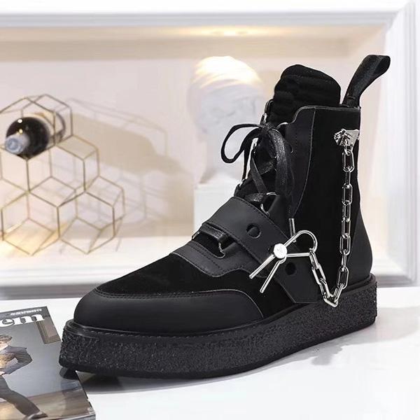 Новое поступление 2020 Creeper Bapkle Boots Женские мужчины Последние сапоги Золотые цепные реакцию Окрашивание Оформление Размер 35-45 для влюбленных