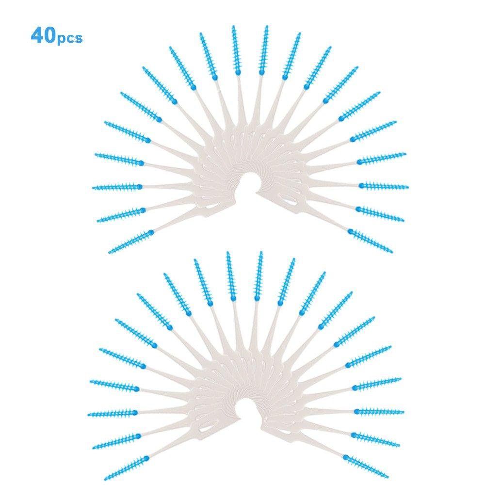 40pcs cure-dents à double extrémité dentifrice soft silicone dents choix dentaire pinceau interdental brosse dents bâton dentaire hygiène dentaire outils