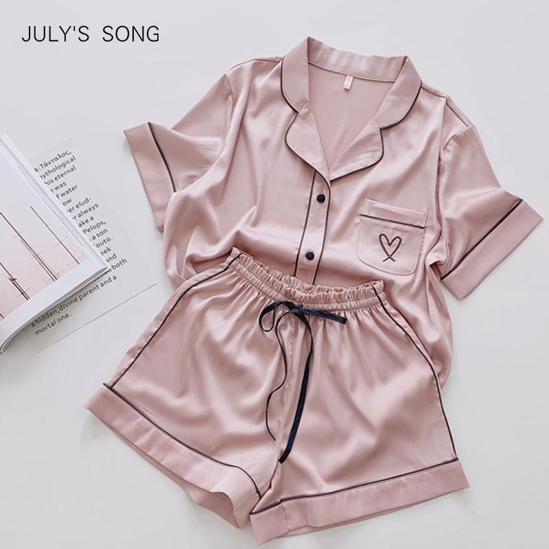Julys Şarkı Kalp Nakış Pijama Kadınlar Katı Pembe Yaz Pijama Pijama Rahat Yumuşak Faux İpek Saten Gecelik Homewear