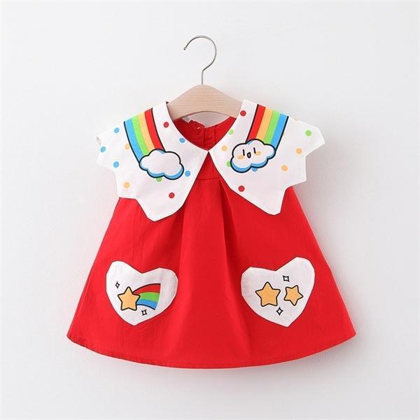 0-2Y Yaz Bebek Kız Giydirme Giysi Sevimli Karikatür Prenses Giydirme Bebek Yenidoğan Parti Doğum Elbiseler Kızlar vestidos 1026 için