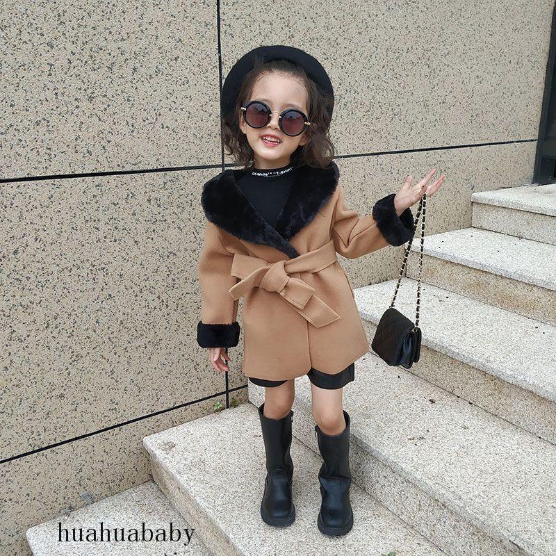 النمط البريطاني كيد معاطف كاكي كبير الياقة الفراء الدافئة الغبار معطف سترة مع حزام سليم النسخة الطفلة معطف