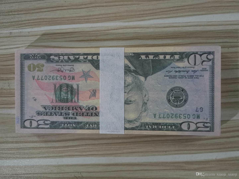 Kinder Geldwährung Spielzeug 50 Dollar Propfteil gefälschte Banknote Banknote 20 Geschenk 100pcs / Pack Film Msjnk