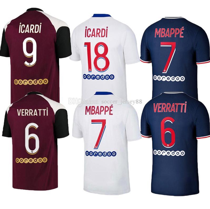2020 2021 Maillots de pieds 19 20 21 Jersey de football enfants ICARDI PA P MBappe Marquinhos S Ris Camisetas Jerseys G Kit Kit de football uniforme