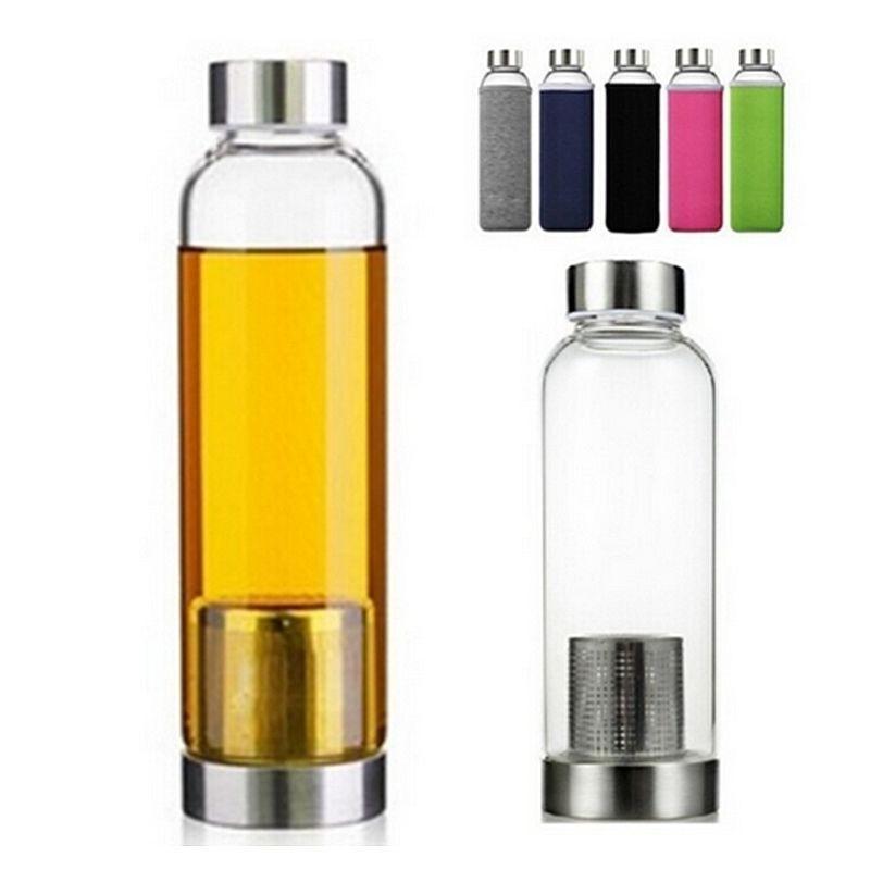 Sıcak 550 ml BPA Ücretsiz Cam Su Şişesi Ile Çay Filtresi Demlik Koruyucu Çanta Açık Spor Yaratıcı Araba Cam Su Kupası