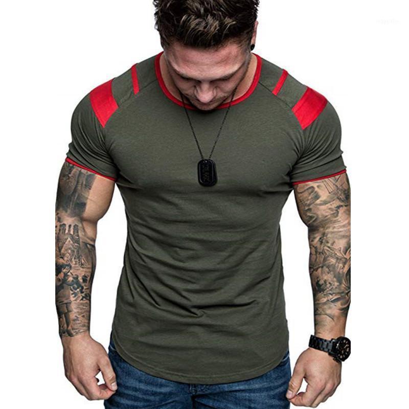 Летние сращивание с коротким рукавом хлопчатобумажная футболка мужчины повседневная уплотнительная шея хип-хоп футболка мужская свободная тонкая мода Tee Tees топы нас размером м- 3xL1