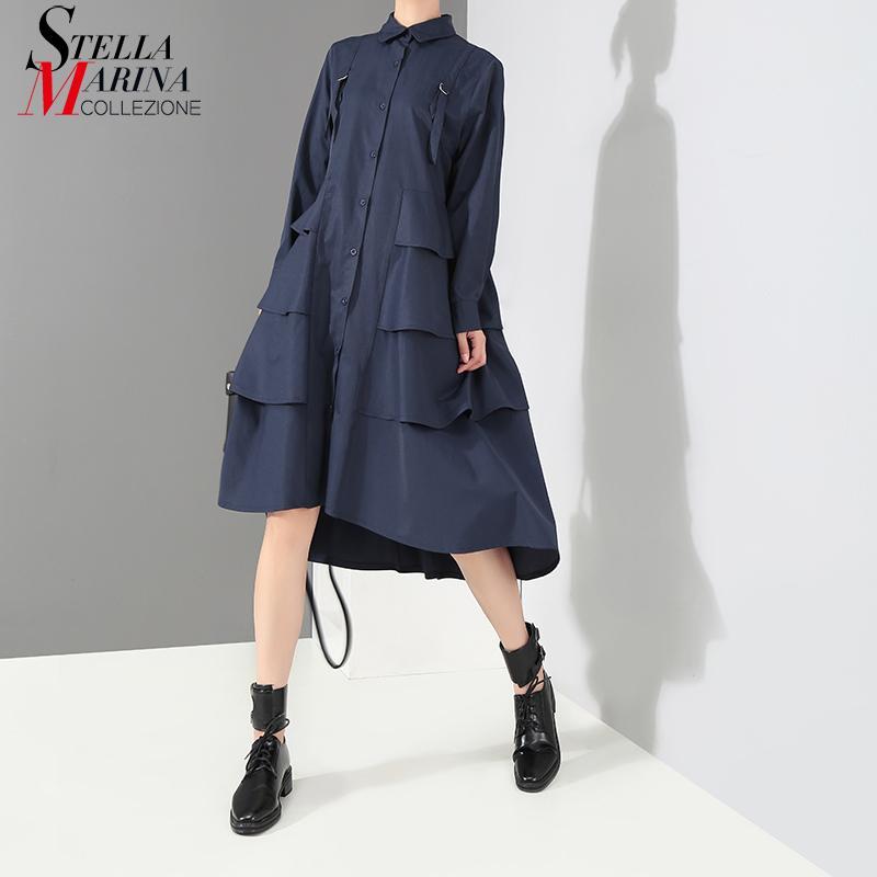 Novos 2020 coreano estilo da marinha das mulheres Moda camisa azul das senhoras Vestido manga comprida Cascading Ruffle elegante da festa de Midi Vestido Robe 3807 prom